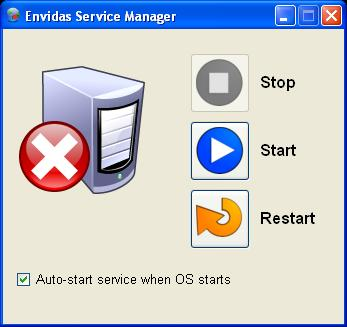 "Envitech Envidas Ultimate Service Manager Screen in a ""Stop"" state"