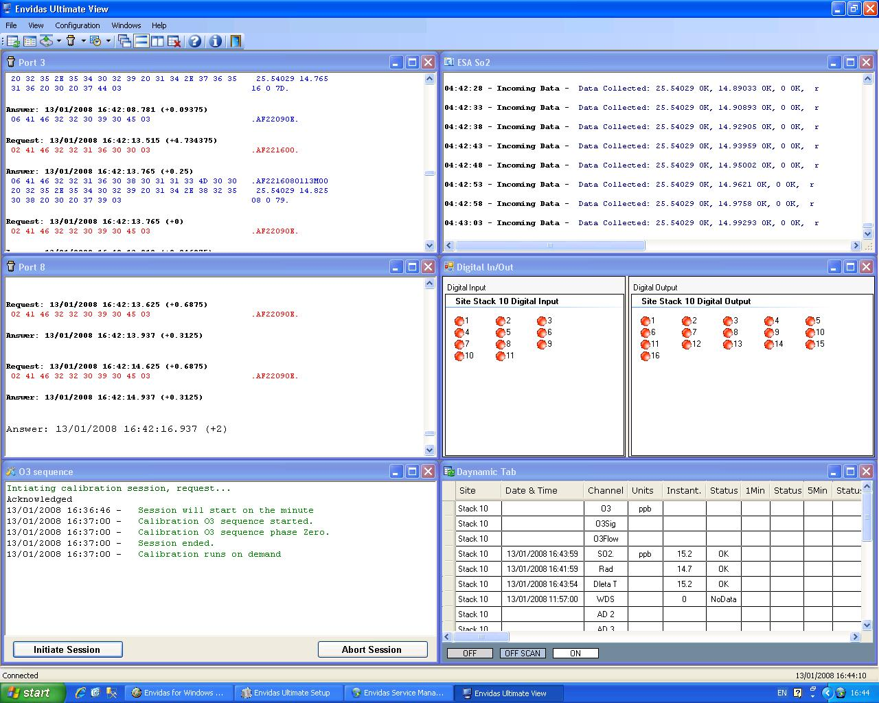 "Envitech Envidas Ultimate View - Several Screens tiles horizontally using the ""Windows"" menu"