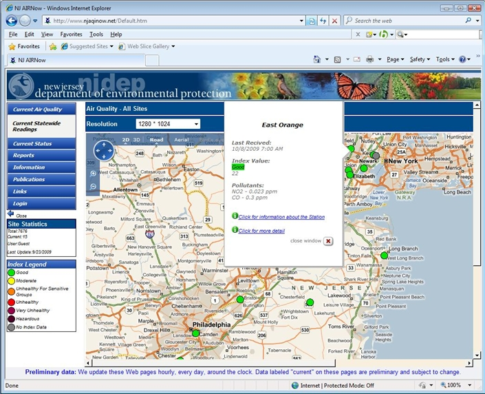 "Envitech EnvistaWeb GIS Map-Example from NJ site reflecting 2-dimensions road map with stations that indicate by index dots and a popup window that appeared after mouse moving on ""East Orange"" station. From this popup window you can reach to the ""Station Information"" screen."